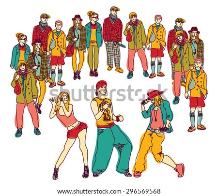 Street dance group people audience isolated. Young people dancing behind audience. Isolate on white color vector illustration. - stock vector