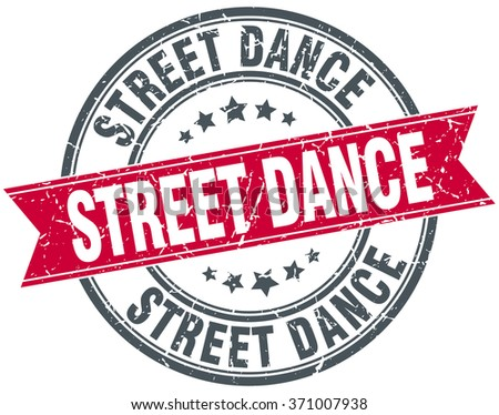 street dance red round grunge vintage ribbon stamp