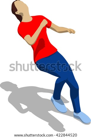 Street fighter getting hit to head. Young athletic woman in red t-shirt and blue tights. 3d flat isometric.