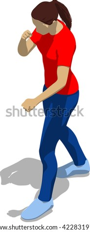 Street fighter in a boxing stance. Young athletic woman in red t-shirt and blue tights. 3d flat isometric. - stock vector