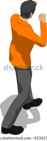 Street fighter in a boxing stance. Young thin man in orange shirt. 3d flat isometric. - stock vector