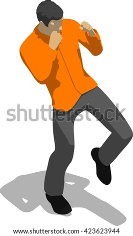 Street fighter kicking with a knee to leg. Young thin man in orange shirt. 3d flat isometric. - stock vector