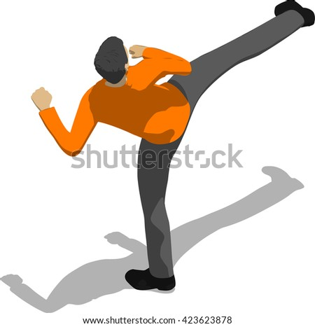 Street fighter kicking with a leg to trunk. Young thin man in orange shirt. 3d flat isometric. - stock vector