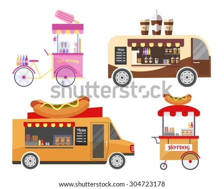 Street food and fast food transport equipment set. Ice cream and coffee, hot dog and sausage, portable kiosk, showcase market, vector illustration - stock vector
