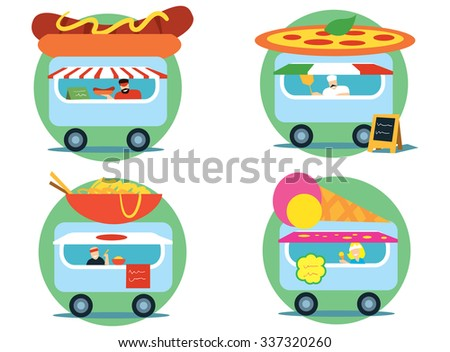 Street food concept. Small booths selling fast food and ice cream. Set stalls selling hot dogs, pizza, ice cream and noodles. Fast Food series flat vector style. Street food.  - stock vector