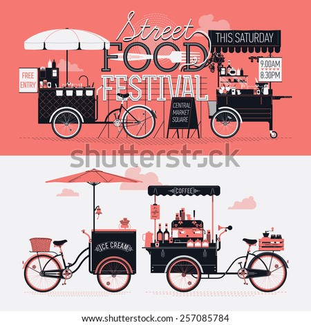 Street food festival event vector graphic poster, flyer or horizontal banner design elements with retro looking detailed vending portable carts selling coffee, hot dogs and ice cream - stock vector