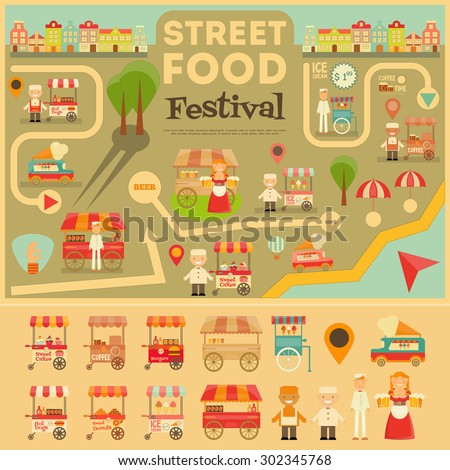 Street Food on City Map. Food carts on Infographic Card. Sellers and Trucks with Food. Vector Illustration. - stock vector