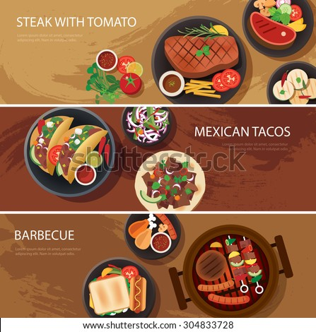 street food web banner, steak , mexican tacos, barbecue - stock vector