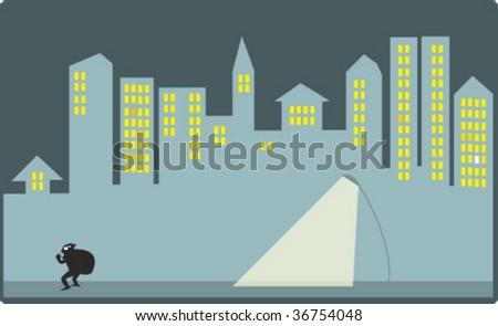 street in night - stock vector
