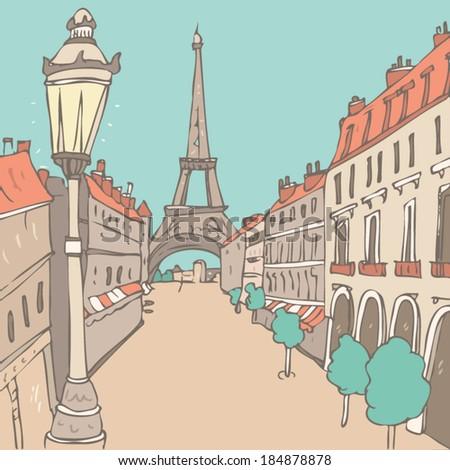 street in Paris vector illustration, hand drawn - stock vector