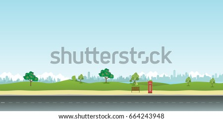 Street in public park with nature landscape and building background vector illustration.Main street scene vector.City street with sky background