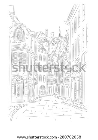 Street in the old town. Hand drawn vector illustration - stock vector