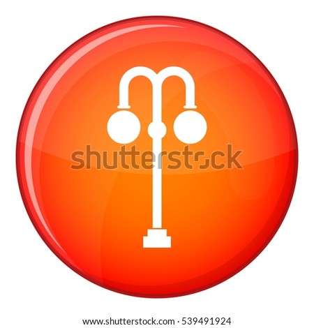 Street lamp icon in red circle isolated on white background vector illustration