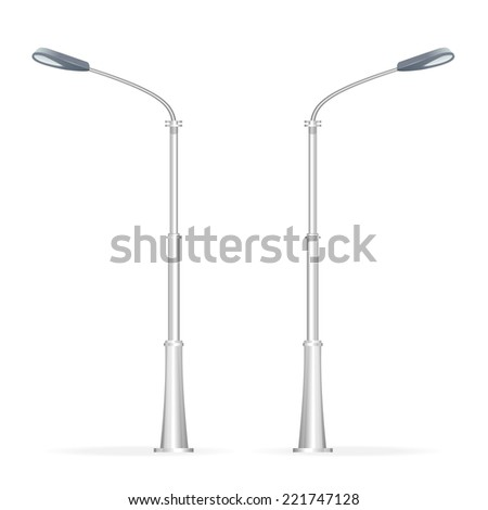 Street lamp isolated on white, electricity oblect - stock vector