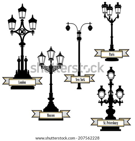 Street lamp label set. Street lights of London, PAris, New-York, Moscow, St Petersburg retro collection. Travel the world icon set. - stock vector