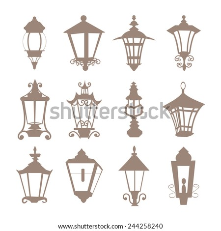 Street Lamp Vintage City Set - stock vector