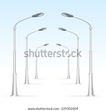 Street lanterns on a white background, electricity oblect. Road. - stock vector