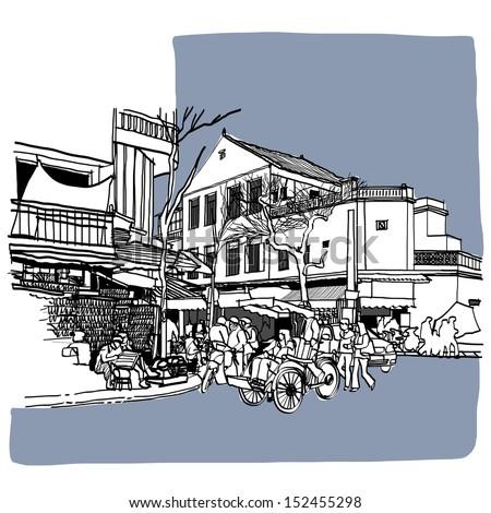 Street life sketchbook : Vietnam vector illustration. - stock vector