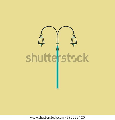 Street Light Flat line icon on yellow background. Vector pictogram with stroke - stock vector