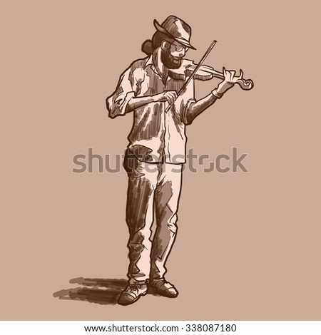 Street musician playing violin. Sketch with marker shading imitation. EPS10 vector illustration. - stock vector