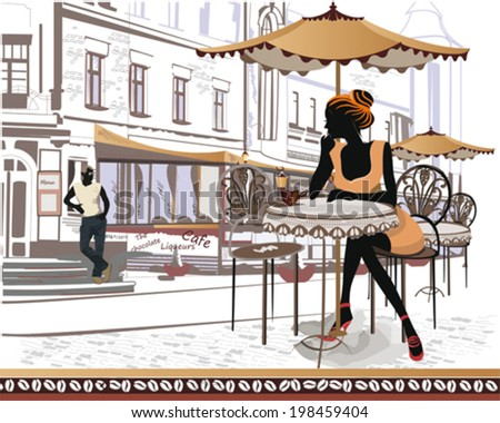 Street musicians on the background of a street cafe  - stock vector