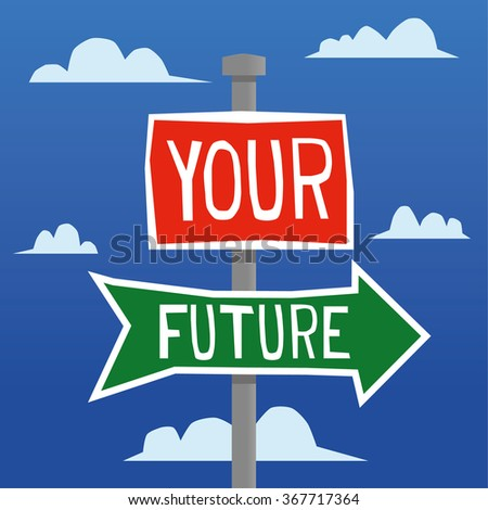 Street name or road traffic signs with the words Your Future added in white text and pointing you in the right direction - stock vector