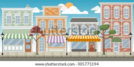 Street of a colorful city with shops - stock vector
