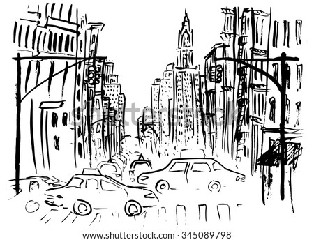 Architecture Drawing Cars pencil drawing landscape set skyscrapers cars stock illustration