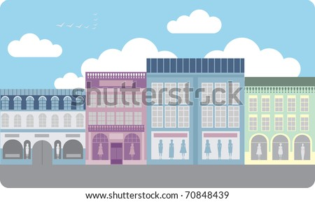 Street of the Luxury clothing stores - stock vector