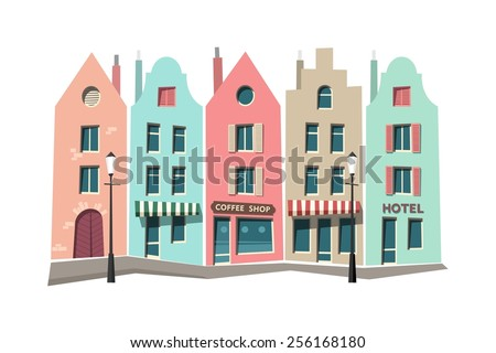 Street of the old town, urban landscape - vector illustration. - stock vector