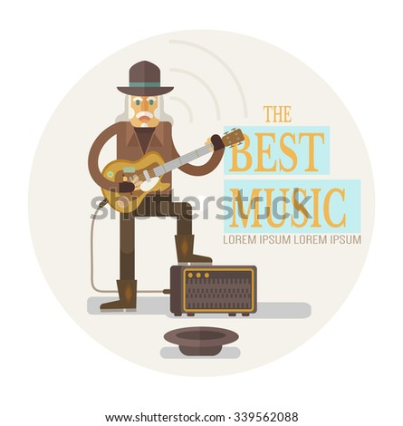 Street old rock musician playing guitar. Vector flat illustration - stock vector
