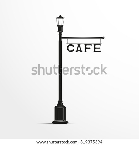 Street post with a sign. Cafe.  Black and white vector illustration. - stock vector