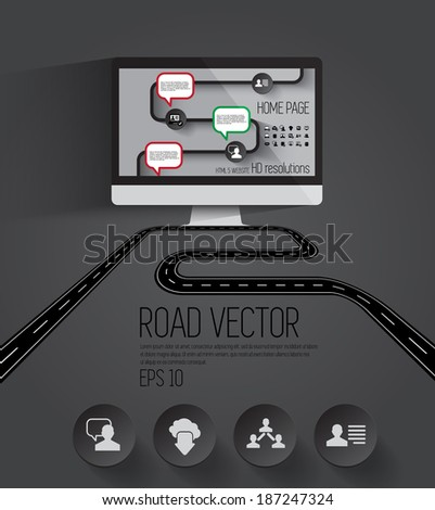 Street Road and City - stock vector