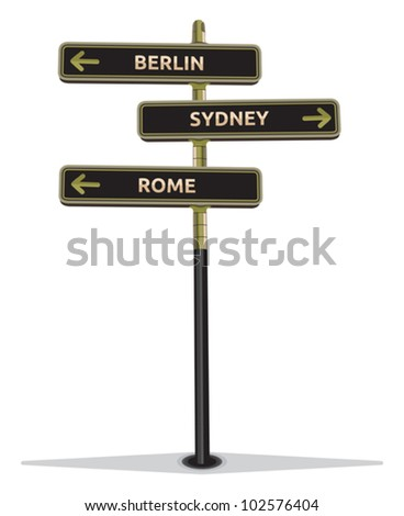 street sign showing cities - stock vector