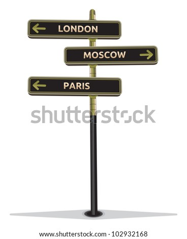 street sign showing cities - Paris Moscow London - stock vector
