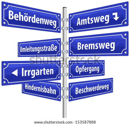 Street signs with names that imply annoying administrative procedures and official channels. German labeling! (Isolated vector on white background.) - stock vector