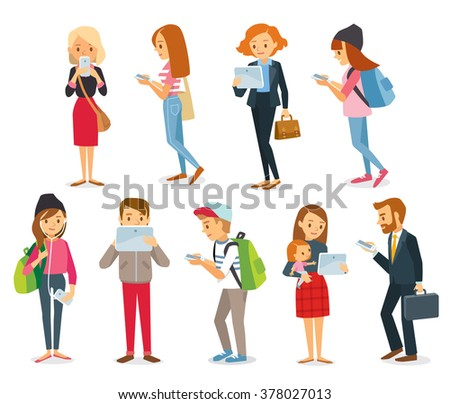 street style people with gadgets - stock vector