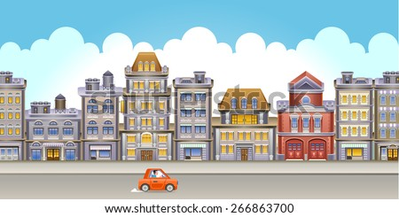 Street  view with buildings. Vector Illustration of small town main street with buildings, clouds and red car. Eps 10. - stock vector