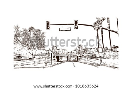 Street view with downtown area at San Jose City in California, USA. Hand drawn sketch illustration in vector.