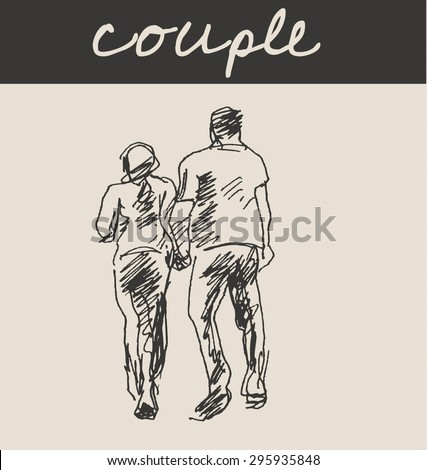 Street walking couple with man and women, in doodle engraving etching sketch hand drawing style, for urban sketching and fashion business design