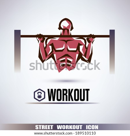 street workout symbol, man is pulling up on the horizontal bar - stock vector