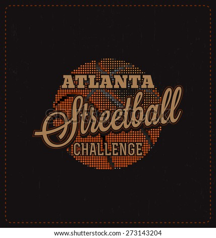 Streetball Challenge - Typographic Design - Classic look ideal for screen print shirt design - stock vector