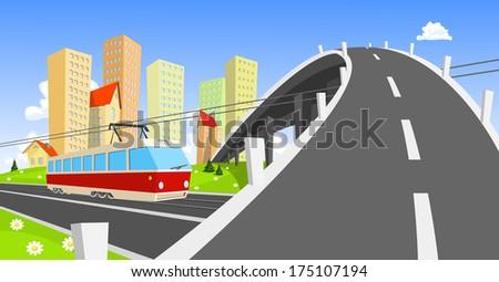 Streetcar coming under the bridge - stock vector