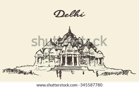 Streets in Delhi, Akshardham Temple, vector illustration, hand drawn, sketch - stock vector