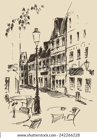 Streets in Paris (France), vintage engraved illustration, hand drawn