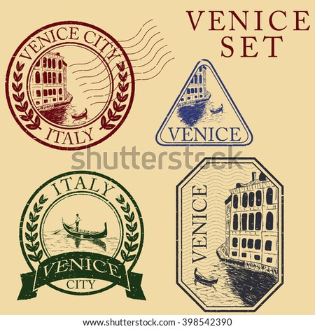 Streets in Venice with gondola, vintage engraved illustration, hand drawn. Stamp set - stock vector
