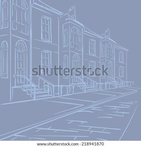 Streets of London. Typical london victorian terraced street panorama. EPS8 vector illustration. - stock vector