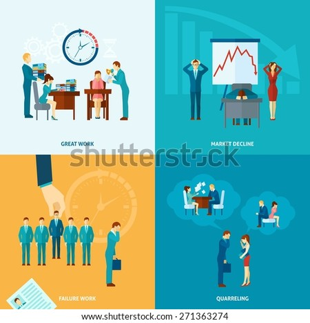 Stress at work design concept set with market decline frustration and depression flat icons isolated vector illustration - stock vector