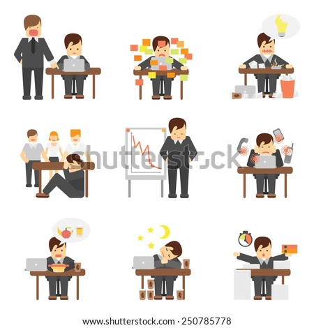 Stress at work dropping results graphic angry boss cartoon characters flat icons set abstract isolated vector illustration - stock vector