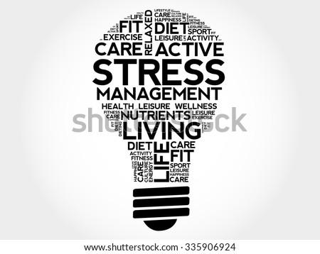 Stress Management bulb word cloud, health concept - stock vector